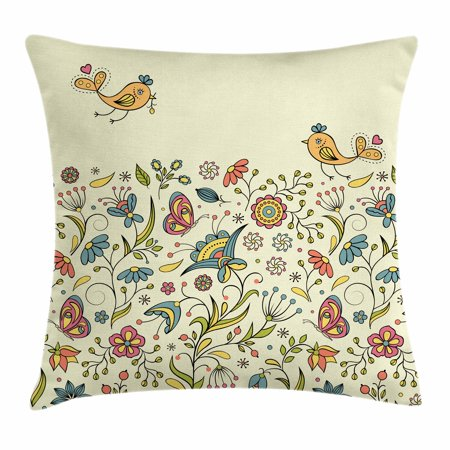 Butterfly Meadow Leaf - Flowers Throw Pillow Cushion Cover, Flourishing Spring Meadow Ornate Artistic Nature Romantic Birds Butterflies Leaves, Decorative Square Accent Pillow Case, 18 X 18 Inches, Multicolor, by Ambesonne