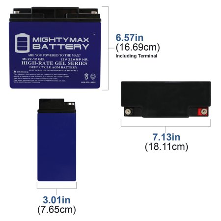 12V 22AH GEL Battery for Kaishan K600W Electric Scooter - image 3 of 6