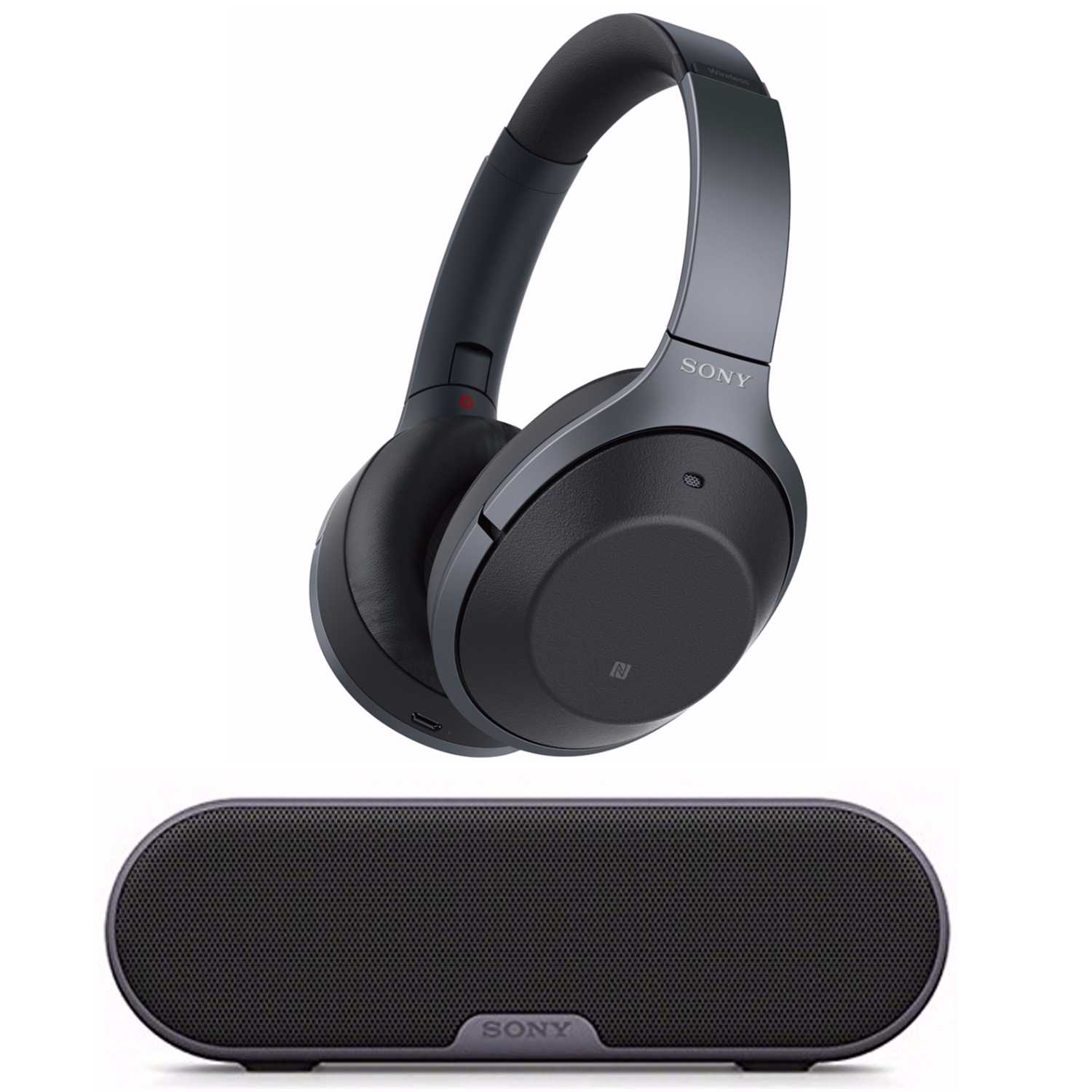 Sony Wireless Noise Cancelling Headphones (Black) with Portable Wireless Speaker by Sony