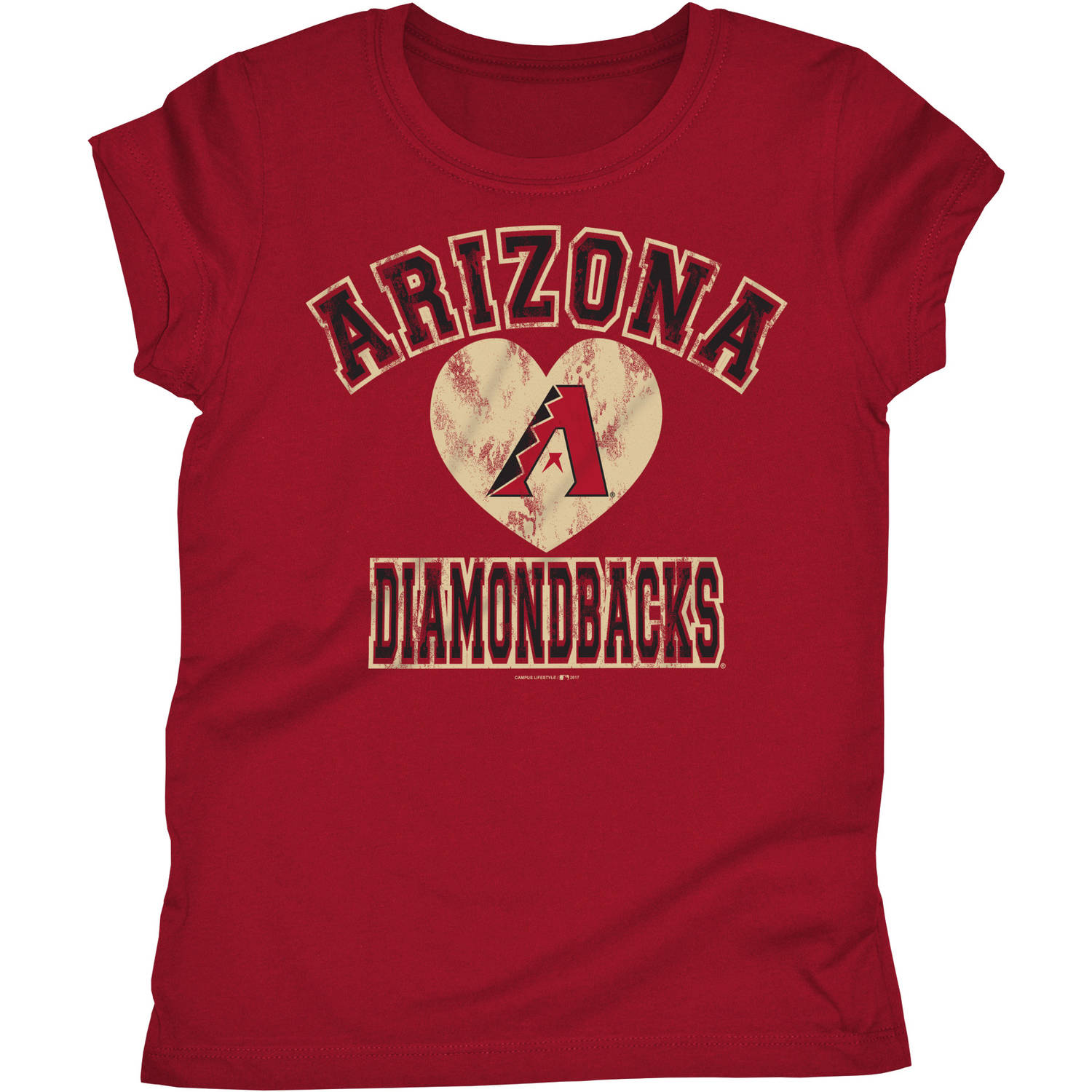 MLB Arizona Diamondbacks Girls Short Sleeve Team Color Graphic Tee