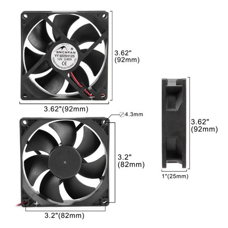 92mm x 92mm x 25mm 12V DC Cooling Fan Long Life HY Bearing Computer Case Fan - image 1 of 7