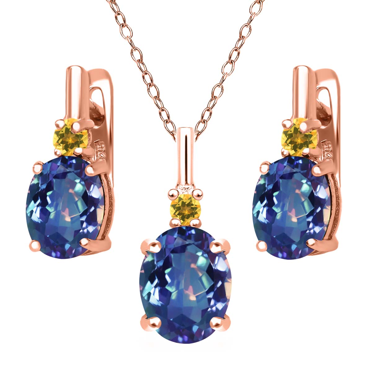 Mystic Quartz Simulated Citrine 18K Rose Gold Plated Silver Pendant Earrings Set by