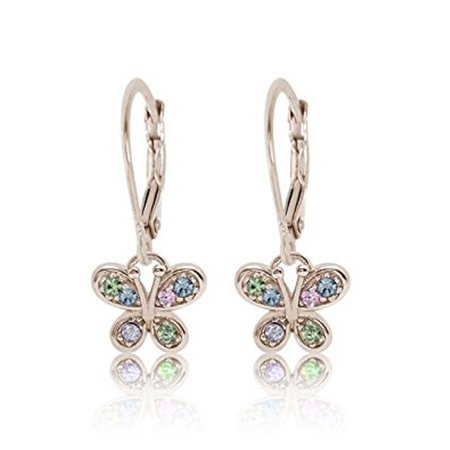 Childrens Sterling Silver Birthstone Earrings - Children's Earrings - 925 Sterling Silver with a White Gold Tone Mixed Colored Crystal Butterfly Leverback Children's Earrings Made with Swarovski Elements Kids, Children, Girls, Baby