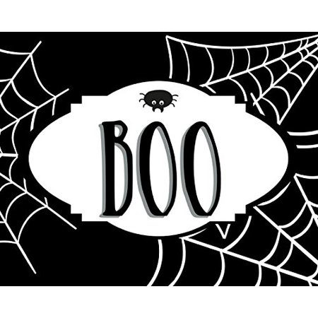 Boo Print Spider Web Picture Black and White Cob Webs Halloween Decoration Wall Hanging Seasonal Poster](Halloween Spider Webs Clip Art)