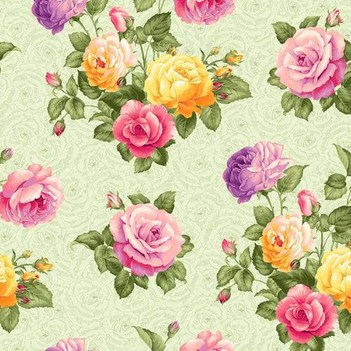 V.I.P by Cranston Large Rose Garden Fabric, per Yard