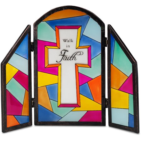 Pavilion-   Walk in Faith 7x6 Sun Catcher Glass Panel Plaque with Cross Religious Gifts