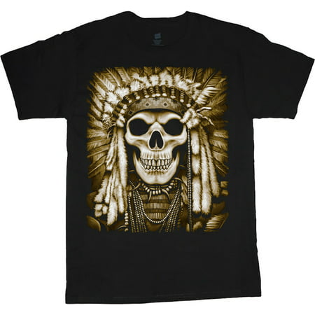 Mens Graphic Tees Aztec Skull T-shirt Decked-Out-Duds Mens Clothing