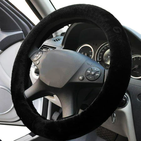 Faux Sheepskin Steering Wheel Cover - Zone Tech Plush Stretch On Vehicle Steering Wheel Cover Black Classic Car Wheel