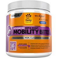 Zesty Paws Senior Advanced Hip & Joint Mobility Bites for Dogs with Glucosamine & Chondroitin, 90 Soft Chews
