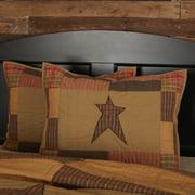 Dark Khaki Tan Primitive Bedding Sutton Cotton Hand Quilted Appliqued Star Standard Sham