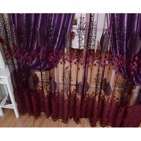 250*100cm Living Room Curtain Floral Tulle Door Window Curtain Drape Panel Sheer Scarf Valances Glass Yarn Curtains - image 2 of 9