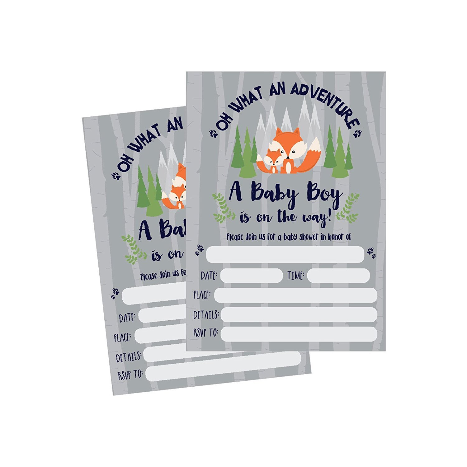 50 Fill In Fox Baby Shower Invitations Woodland Custom Rustic Jungle Forest Neutral Invites For Boy