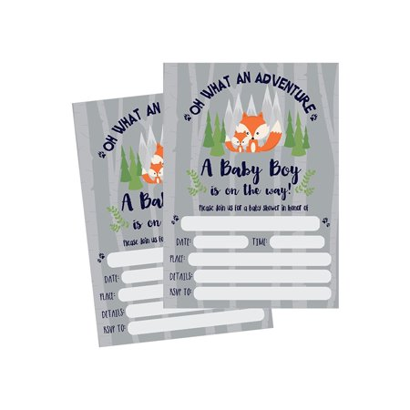 50 Fill in Fox Baby Shower Invitations, Baby Shower Invitations Woodland, Custom, Rustic, Jungle, Forest, Neutral, Baby Shower Invites for Boy, Baby Shower Invite Cards, Baby Invites - Hollywood Themed Invites