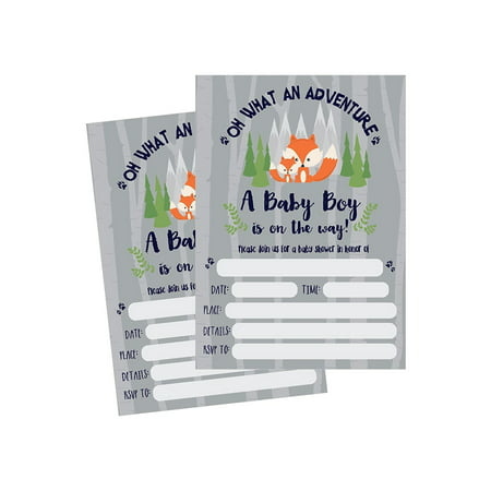 50 Fill in Fox Baby Shower Invitations, Baby Shower Invitations Woodland, Custom, Rustic, Jungle, Forest, Neutral, Baby Shower Invites for Boy, Baby Shower Invite Cards, Baby Invites Printable (Halloween Invitation Cards Printable)