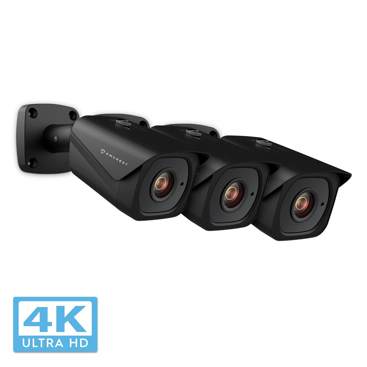 3-Pack Amcrest UltraHD 4K (8MP) Bullet POE IP Camera, 3840x2160, 131ft NightVision, 2.8mm Lens, IP67 Weatherproof, MicroSD Recording, Black (IP8M-2496EB)