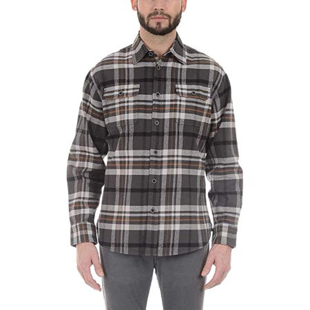 - Jachs Men's Brawny Flannel Shirt (XXL, Grey/Black/Brown) - NEW