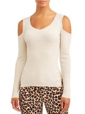 Sofia Jeans Cold-Shoulder Ribbed V-Neck Knit Top Women's