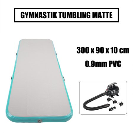 Inflatable Gymnastics Mat Air Track Floor Mat Water Buoyancy with Electric  Pump Mint Green