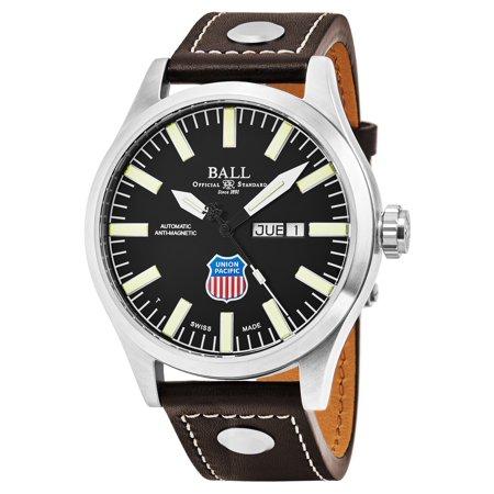 ca468a441 Ball - Men's 'Engineer II Big Boy' Black Dial Brown Leather Strap Swiss  Automatic Watch - Walmart.com