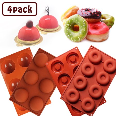 [4 Pack] Donut Silicone Baking Mold + Half Circle Silicone Mold,IClover Non-Stick Food Grade Muffin Cups Cake Biscuit Cookie Candy Mold for Making Delicate Chocolate Desserts, Ice Cream
