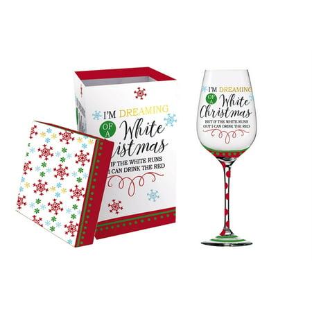 Wine Glass w/metallic accents and box, 17 OZ., White