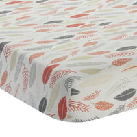 Lambs & Ivy Family Tree White/Coral/Gold/Gray 100% Cotton Baby Fitted Crib Sheet