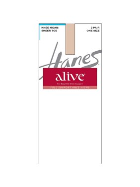 Silk Reflections Womens Alive Full Support 2 Pack Sheer Knee Highs