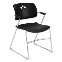 Safco Veer Series Stacking Chair With Arms, Sled Base, Black/Chrome, Set of 4