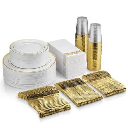 350 Piece Gold Dinnerware Set - 100 Gold Rim Plastic Plates - 50 Gold Plastic Silverware - 50 Gold Plastic Cups - 50 Linen Like Gold Paper Napkins, 50 Guest Disposable Gold Dinnerware Set ()