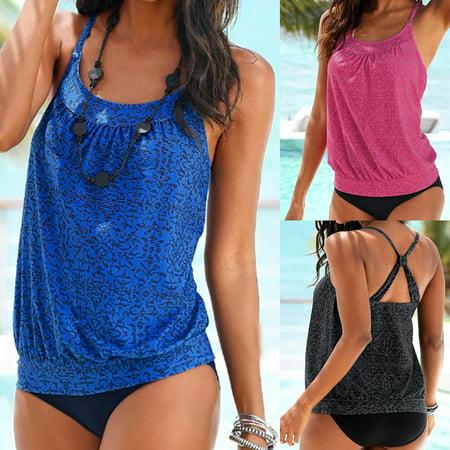 Tuscom Women Plus Size Printed Tankini Bikini Swimwear Swimsuit Bathing Suit