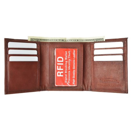 Mens Trifold Leather Wallet RFID Blocking New Marshal RFID 55 Brown