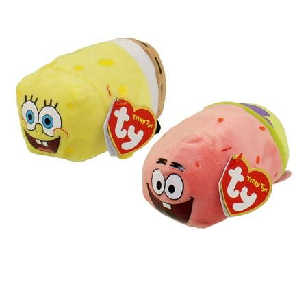 TY Beanie Boos - Teeny Tys Stackable Plush - Spongebob Squarepants - SET OF 2 (Spongebob & Patrick)