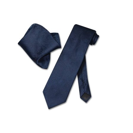 Vesuvio Napoli NAVY BLUE PAISLEY NeckTie & Handkerchief Matching Neck Tie Set ()