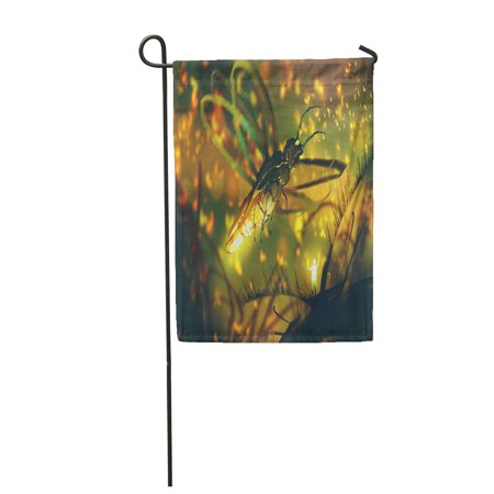 LADDKE Orange Little Man Directing Giant Firefly in Night Forest Garden Flag Decorative Flag House Banner 12x18 inch - Firefly Hours