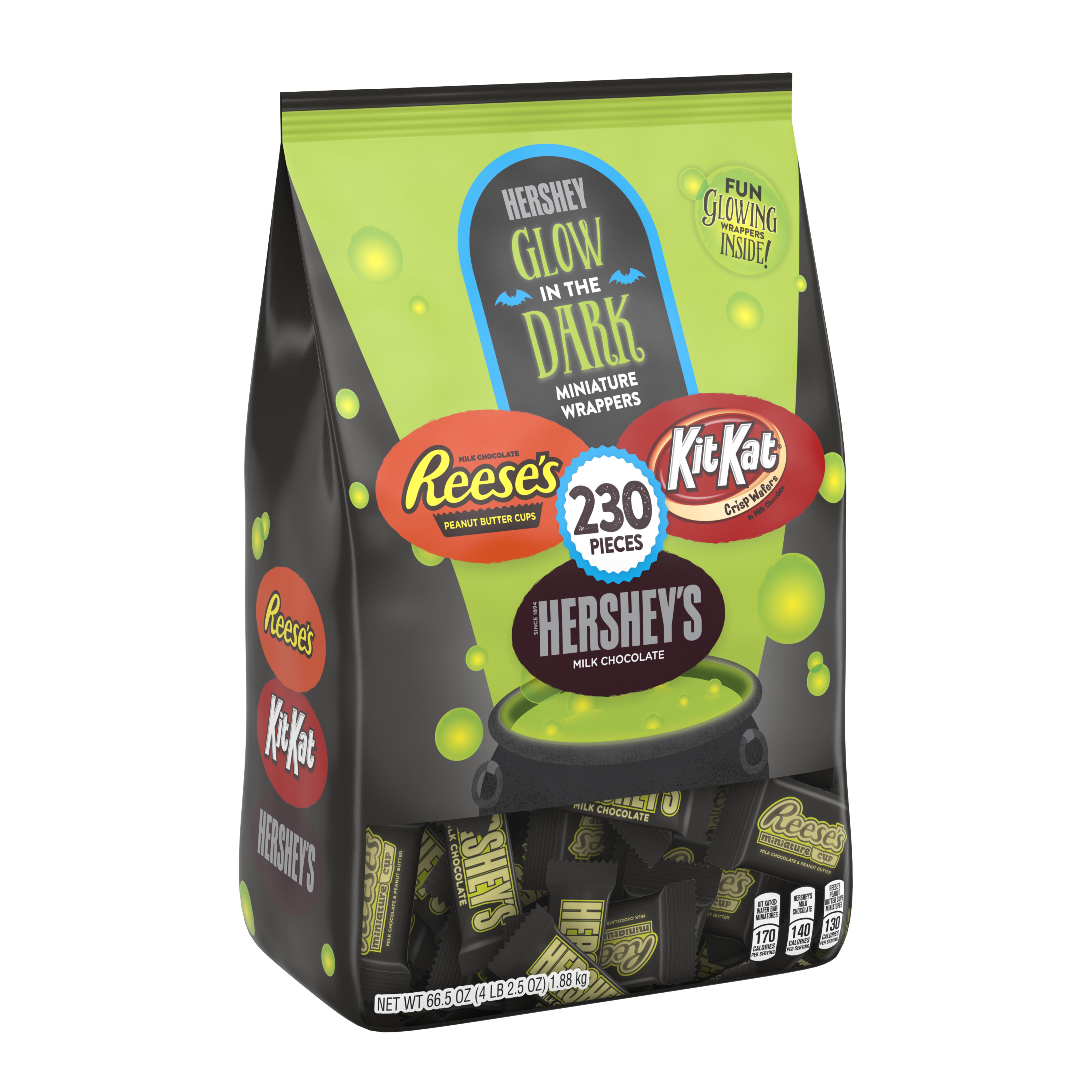 Hershey's, Halloween Chocolate Snack Size Assortment, Glow in the Dark, 230 Ct