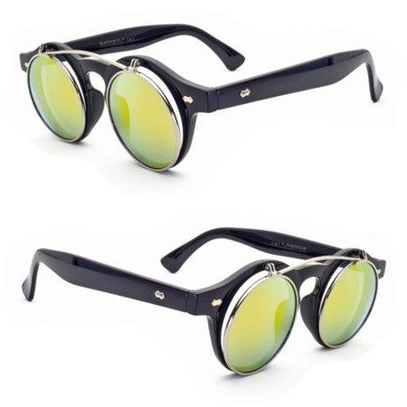 Cool Flip Up Lens Steampunk Vintage Retro  Round Sunglasses Revo Color Lens (Revo Color)