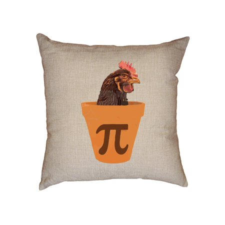Hilarious Chicken Pot Pie Graphic With Chicken in Planter Pot Pi Symbol Decorative Linen Throw Cushion Pillow Case with Insert ()