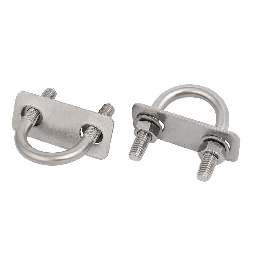 Unique Bargains 2pcs M8x27mm 304 Stainless Steel Round U-Bolt w Plate and  Hex Nut Flat Washer