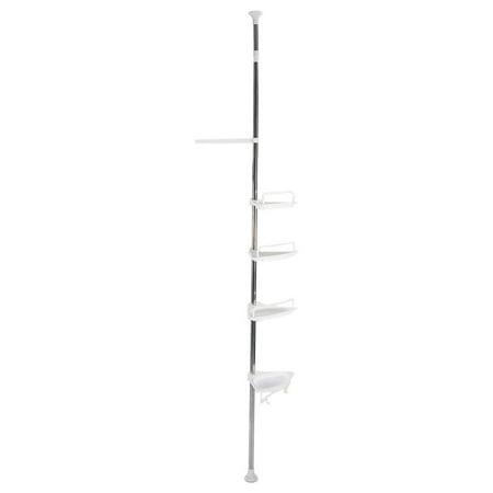 Tbest 4-Tier Bathroom Corner Shelf,Height of 63  -118  Adjustable Telescopic Shower Shelf Shower Corner Rack Stainless Steel Clad Pipe,4-Tier Bathroom Corner Shelf,Adjustable Telescopic