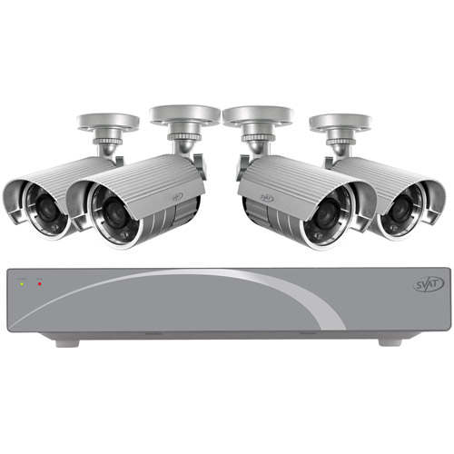 SVAT 11026 4-Channel Smart Security DVR with 4 High-Resolution Night-Vision Security Cameras