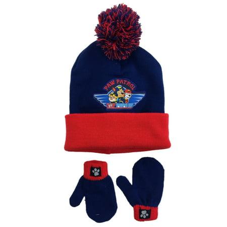 09355892e2c09 PAW Patrol - Toddler Boys Blue   Red Cuff Paw Patrol Beanie Hat   Mittens  Set Puppy Dog - Walmart.com