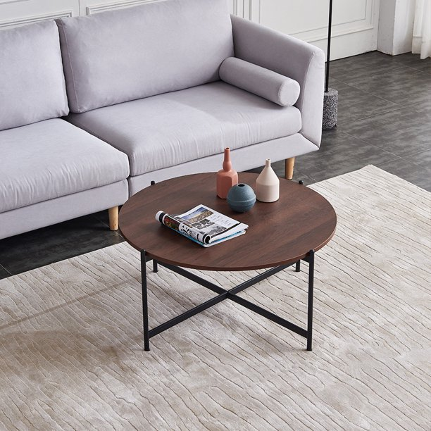 Ailsa 36 Round Coffee Table Mid Century Modern Coffee Table W Walnut Wooden Top Gold Metal Frame For Home Living Room Dining Room Walmart Com Walmart Com