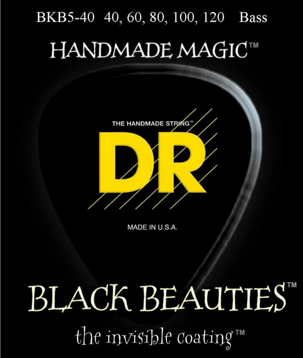 DR Strings BLACK BEAUTIES Coated 5-String Bass Light (40-120) by DR Strings