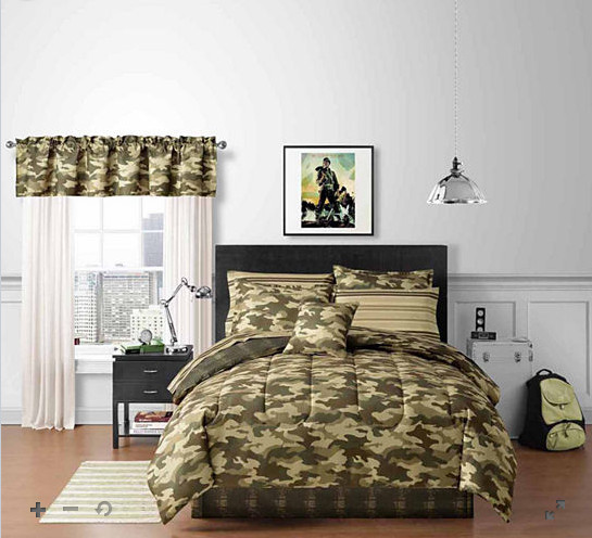 Green Camouflage Camo Boys Queen Comforter Set (8 Piece Bed In A Bag)