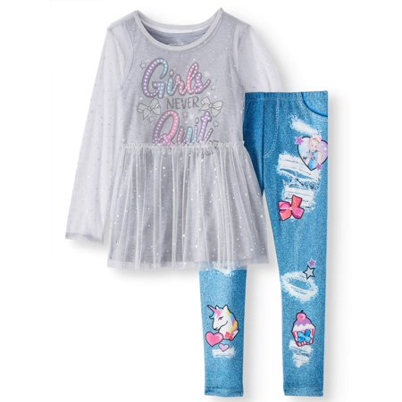 Sheer Overlay, Tank Top, and Legging, 3-Piece Outfit Set (Little Girls & Big Girls)