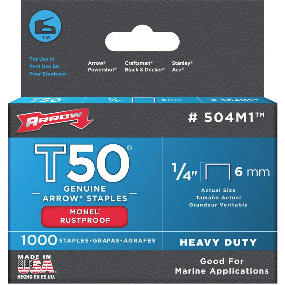 "Arrow Fastener Co. 504M1 1/4"" T50 Monel Staples"