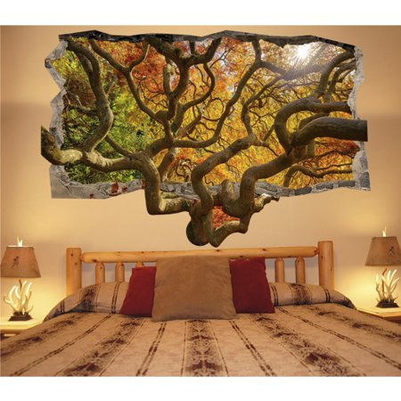 Startonight 3D Mural Wall Art Photo Decor Brown Tree Amazing Dual ...