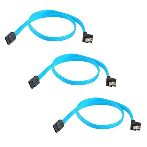 "Insten 3-Pack 18"" Serial ATA SATA Right Angle to Straight DATA HDD Hard Drive Cable"