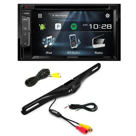 Kenwood DDX24BT Double DIN Bluetooth Stereo with 6.2 inch Wide VGA Color LCD Display + Pyle PLCM18BC (Black ) License Plate Mount Rear View Backup Color Camera w/ Distance Scale (Plate Stereo Tube)