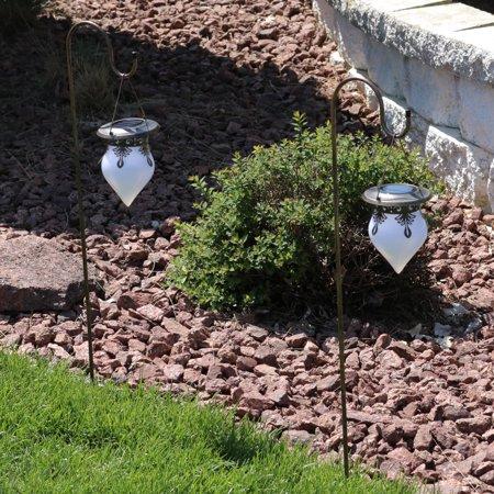 Sunnydaze 35 Inch Hanging Rain Drop Outdoor LED Solar Light With Shepherd Hook (Set of 2) ()